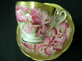 Beautiful Queen Anne cabinet cup & saucer - Orchids